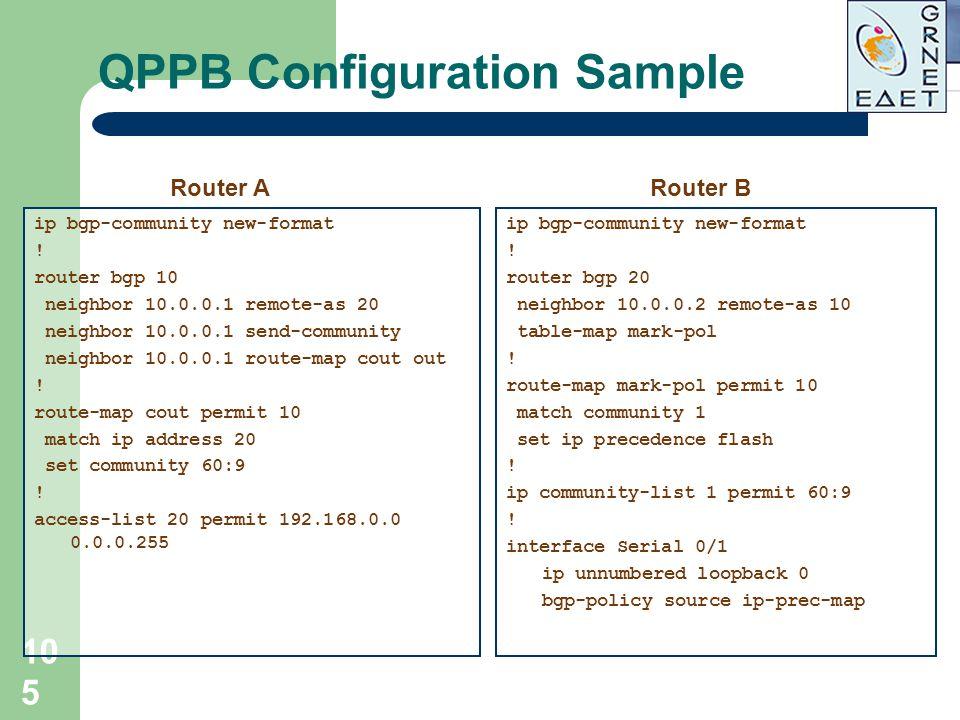 105 QPPB Configuration Sample ip bgp-community new-format ! router bgp 10 neighbor 10.0.0.1 remote-as 20 neighbor 10.0.0.1 send-community neighbor 10.