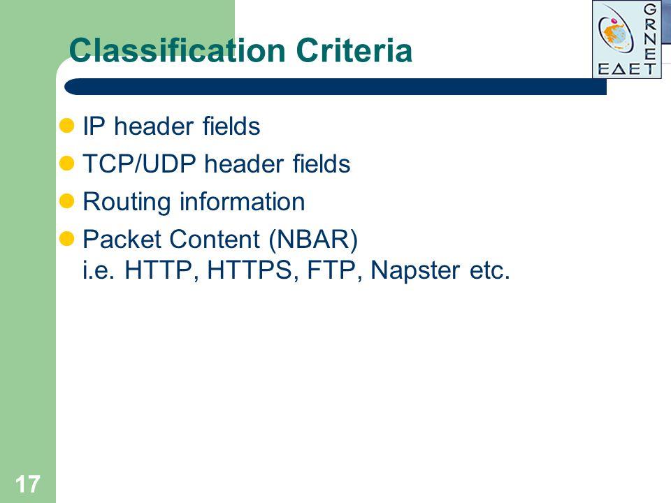 17 Classification Criteria IP header fields TCP/UDP header fields Routing information Packet Content (NBAR) i.e. HTTP, HTTPS, FTP, Napster etc.