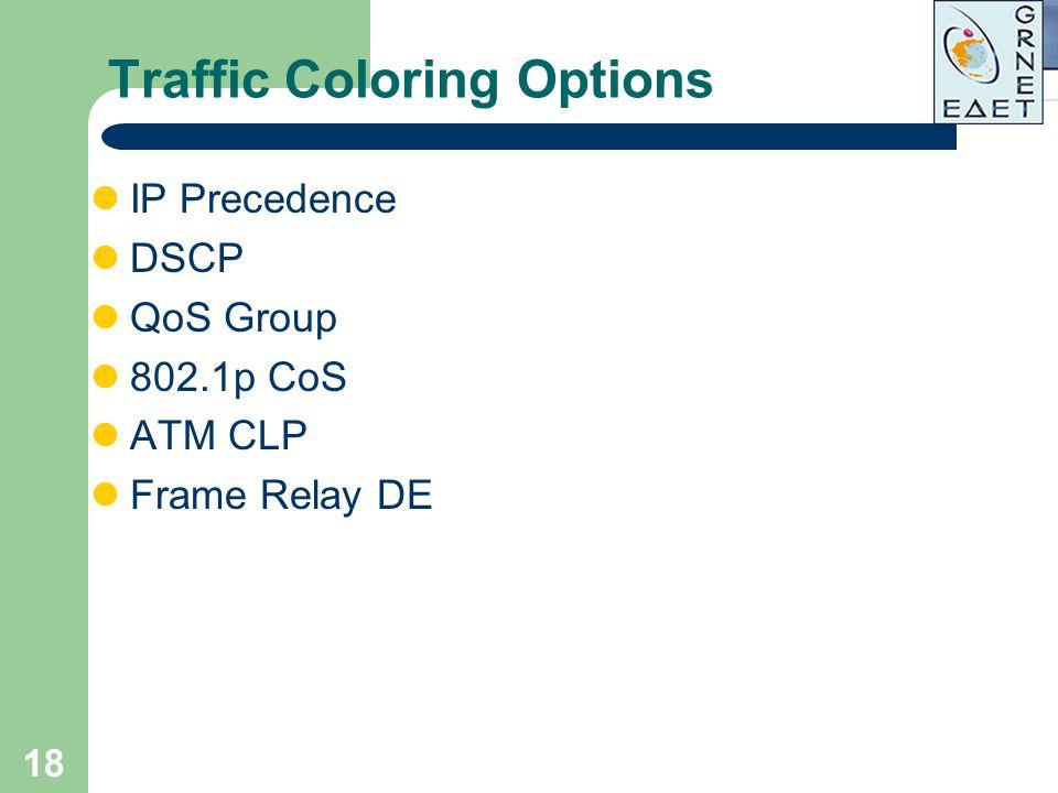 18 Traffic Coloring Options IP Precedence DSCP QoS Group 802.1p CoS ATM CLP Frame Relay DE