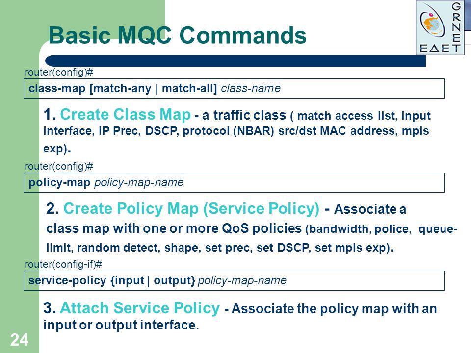 24 Basic MQC Commands class-map [match-any | match-all] class-name router(config)# 1. Create Class Map - a traffic class ( match access list, input in