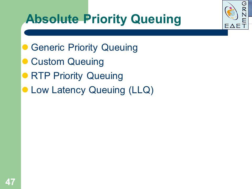 47 Absolute Priority Queuing Generic Priority Queuing Custom Queuing RTP Priority Queuing Low Latency Queuing (LLQ)