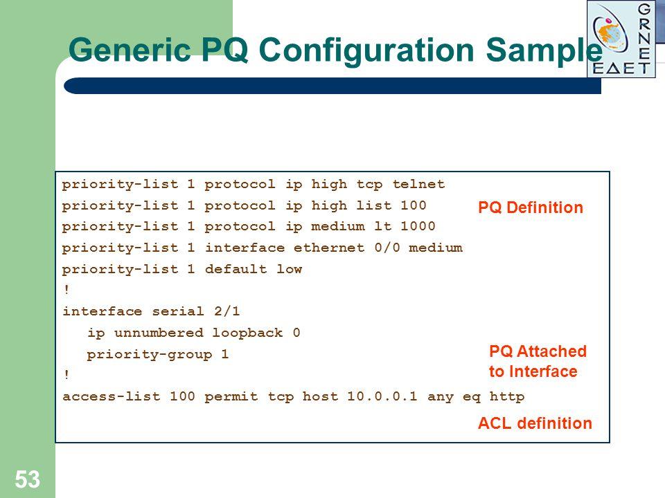 53 Generic PQ Configuration Sample priority-list 1 protocol ip high tcp telnet priority-list 1 protocol ip high list 100 priority-list 1 protocol ip m