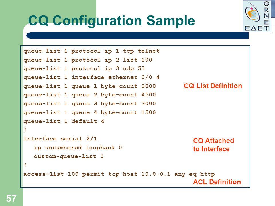 57 CQ Configuration Sample queue-list 1 protocol ip 1 tcp telnet queue-list 1 protocol ip 2 list 100 queue-list 1 protocol ip 3 udp 53 queue-list 1 in