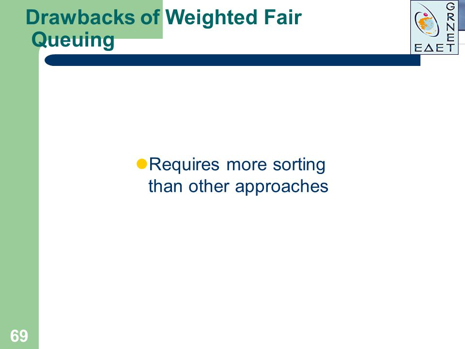 69 Drawbacks of Weighted Fair Queuing Requires more sorting than other approaches