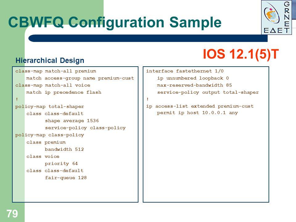 79 CBWFQ Configuration Sample class-map match-all premium match access-group name premium-cust class-map match-all voice match ip precedence flash ! p
