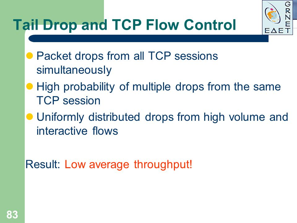 83 Tail Drop and TCP Flow Control Packet drops from all TCP sessions simultaneously High probability of multiple drops from the same TCP session Unifo