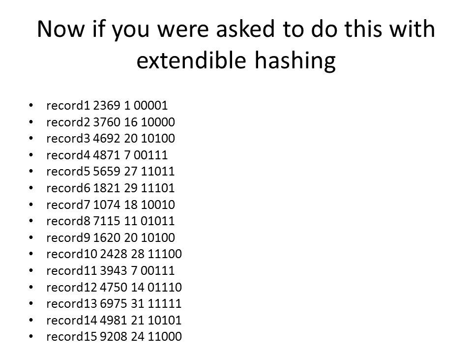 Now if you were asked to do this with extendible hashing record1 2369 1 00001 record2 3760 16 10000 record3 4692 20 10100 record4 4871 7 00111 record5 5659 27 11011 record6 1821 29 11101 record7 1074 18 10010 record8 7115 11 01011 record9 1620 20 10100 record10 2428 28 11100 record11 3943 7 00111 record12 4750 14 01110 record13 6975 31 11111 record14 4981 21 10101 record15 9208 24 11000