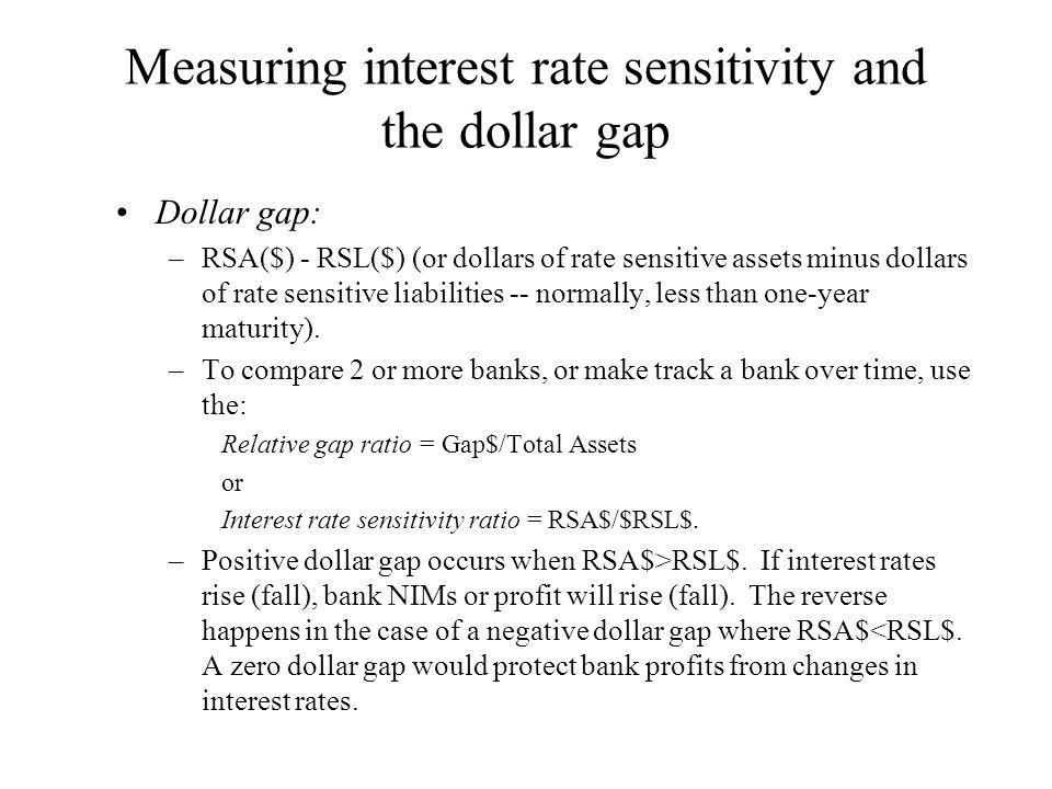 Measuring interest rate sensitivity and the dollar gap Dollar gap: –RSA($) - RSL($) (or dollars of rate sensitive assets minus dollars of rate sensiti