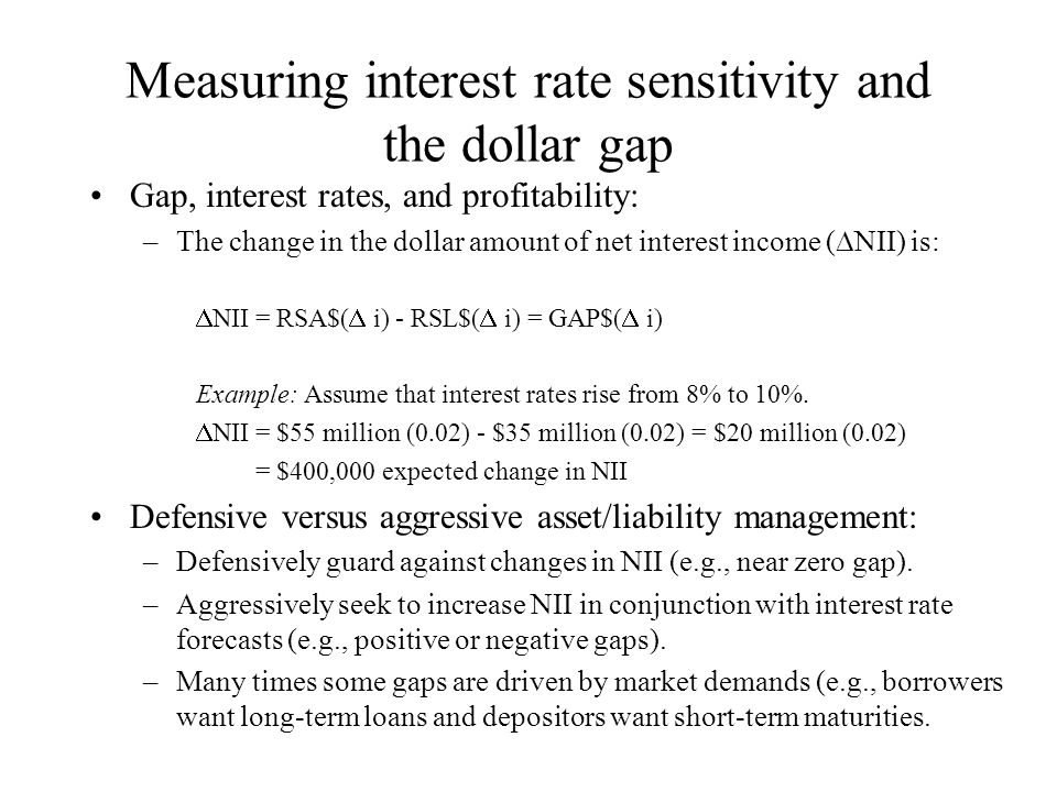 Measuring interest rate sensitivity and the dollar gap Gap, interest rates, and profitability: –The change in the dollar amount of net interest income