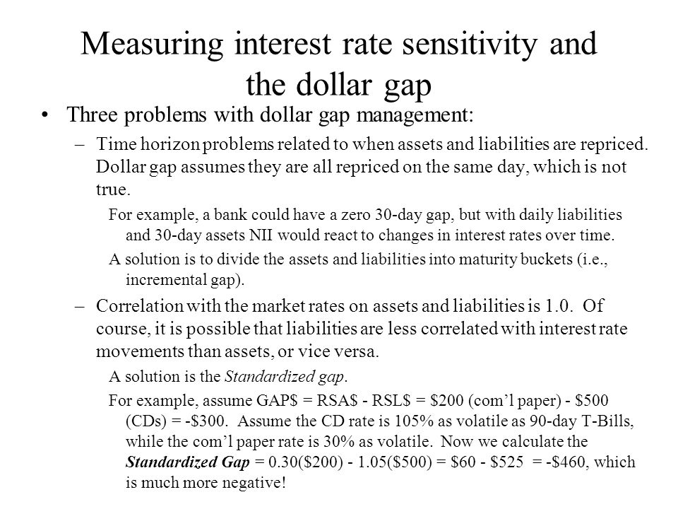 Measuring interest rate sensitivity and the dollar gap Three problems with dollar gap management: –Time horizon problems related to when assets and li