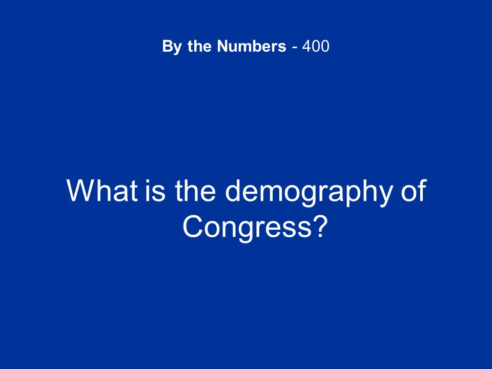 By the Numbers - 400 What is the demography of Congress