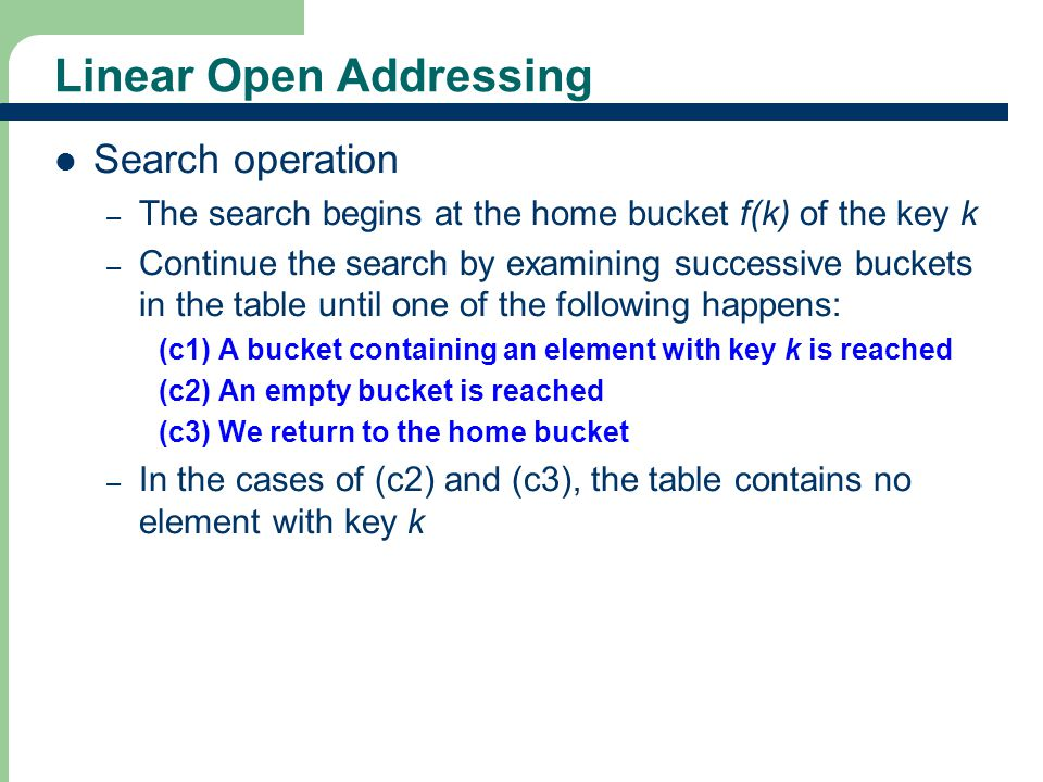 27 Linear Open Addressing Search operation – The search begins at the home bucket f(k) of the key k – Continue the search by examining successive buck