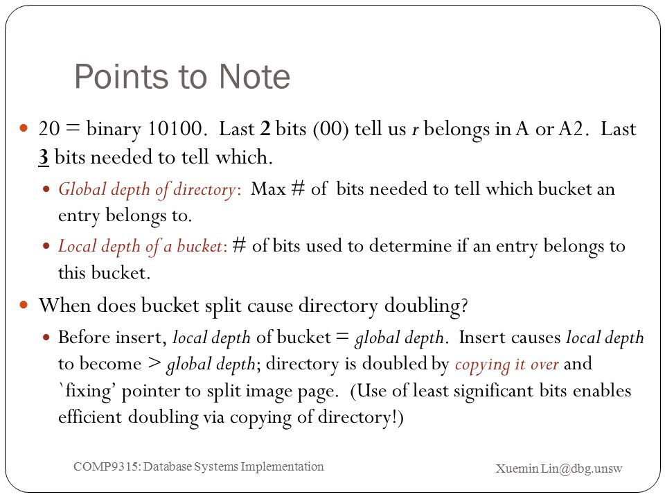 Points to Note 20 = binary 10100. Last 2 bits (00) tell us r belongs in A or A2.