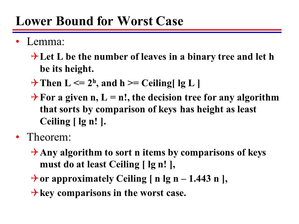 Lower Bound for Worst Case Lemma:  Let L be the number of leaves in a binary tree and let h be its height.