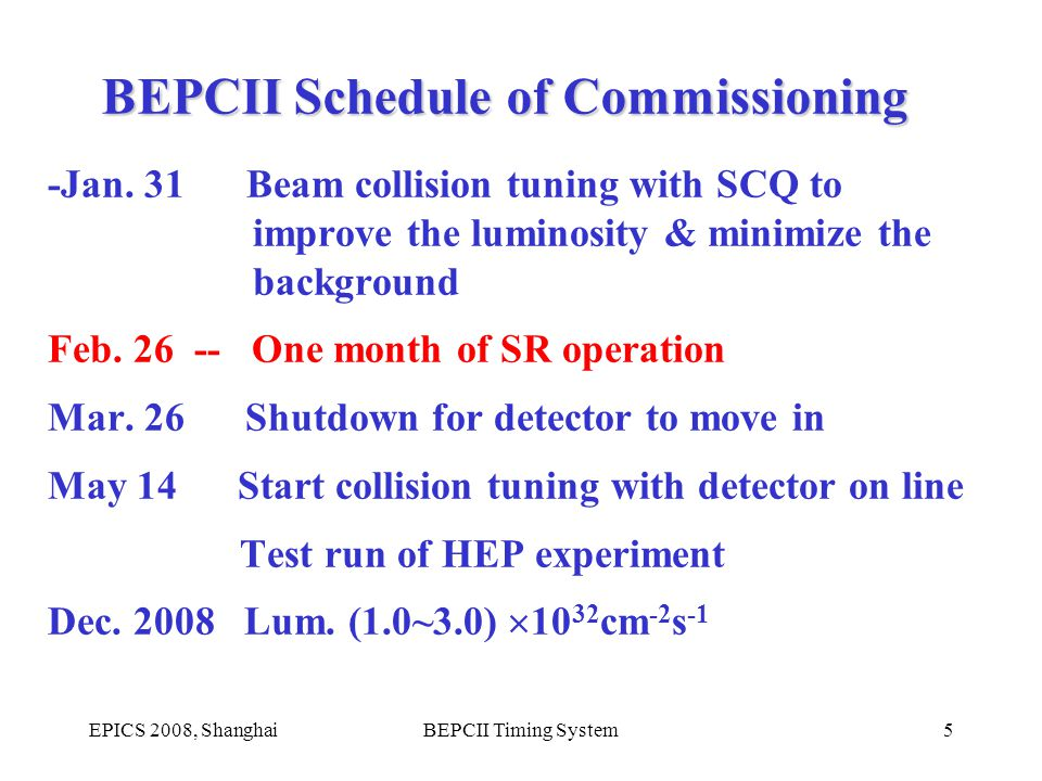 EPICS 2008, ShanghaiBEPCII Timing System5 -Jan. 31 Beam collision tuning with SCQ to improve the luminosity & minimize the background Feb. 26 -- One m