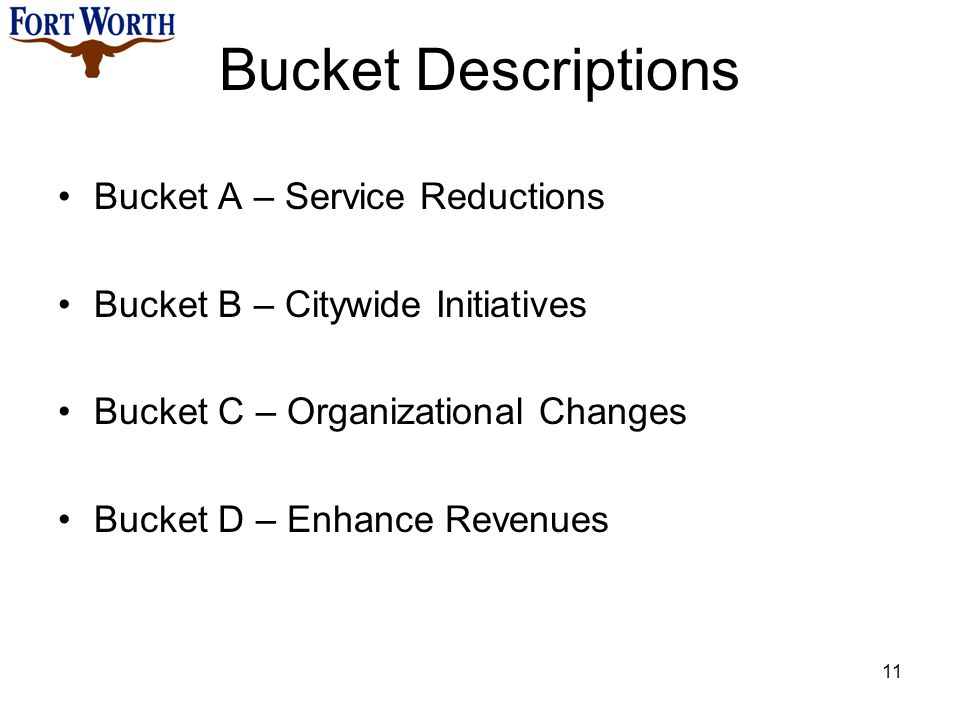 Bucket Descriptions Bucket A – Service Reductions Bucket B – Citywide Initiatives Bucket C – Organizational Changes Bucket D – Enhance Revenues 11