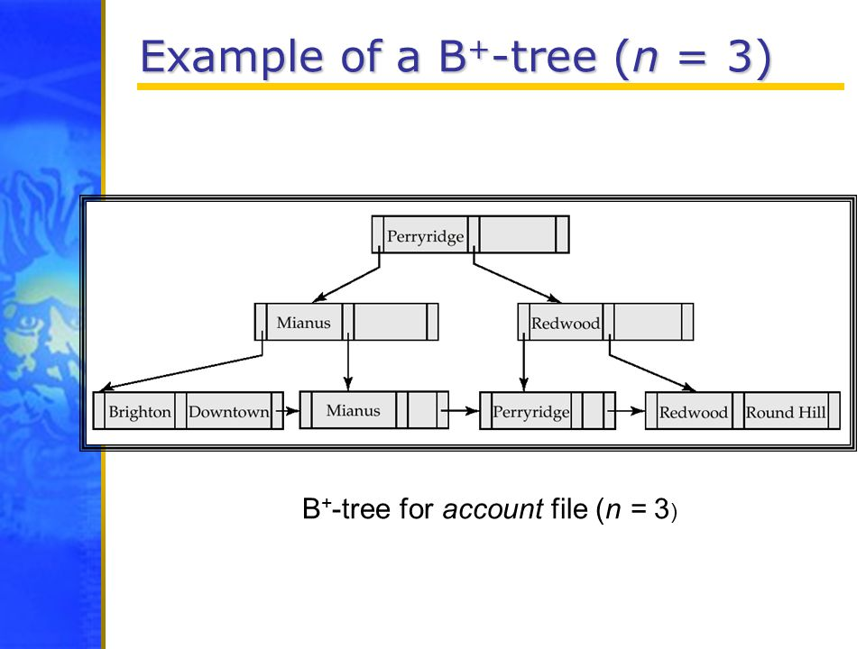 Example of a B + -tree (n = 3) B + -tree for account file (n = 3 )