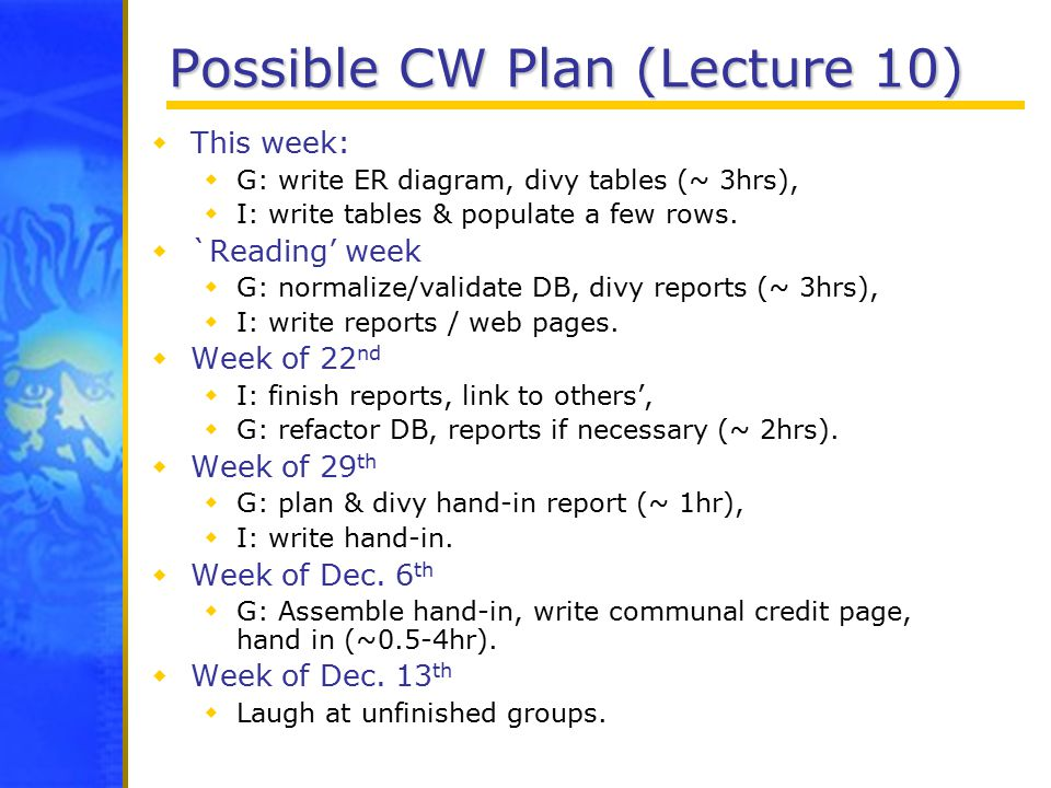 Possible CW Plan (Lecture 10)  This week:  G: write ER diagram, divy tables (~ 3hrs),  I: write tables & populate a few rows.