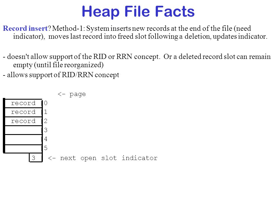 Heap File Facts Record insert? Method-1: System inserts new records at the end of the file (need indicator), moves last record into freed slot followi