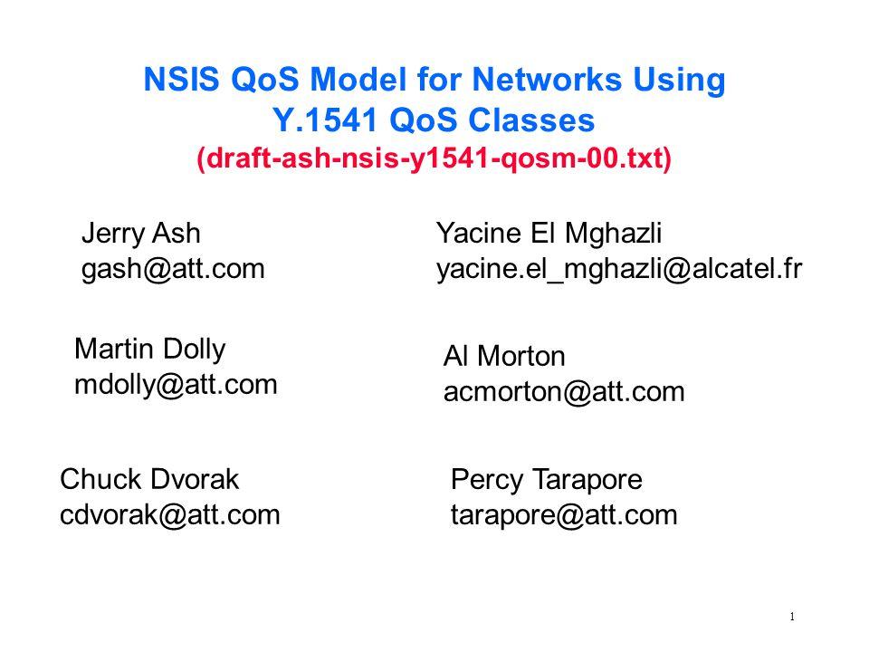 1 NSIS QoS Model for Networks Using Y.1541 QoS Classes (draft-ash-nsis-y1541-qosm-00.txt) Jerry Ash gash@att.com Chuck Dvorak cdvorak@att.com Percy Tarapore tarapore@att.com Yacine El Mghazli yacine.el_mghazli@alcatel.fr Al Morton acmorton@att.com Martin Dolly mdolly@att.com