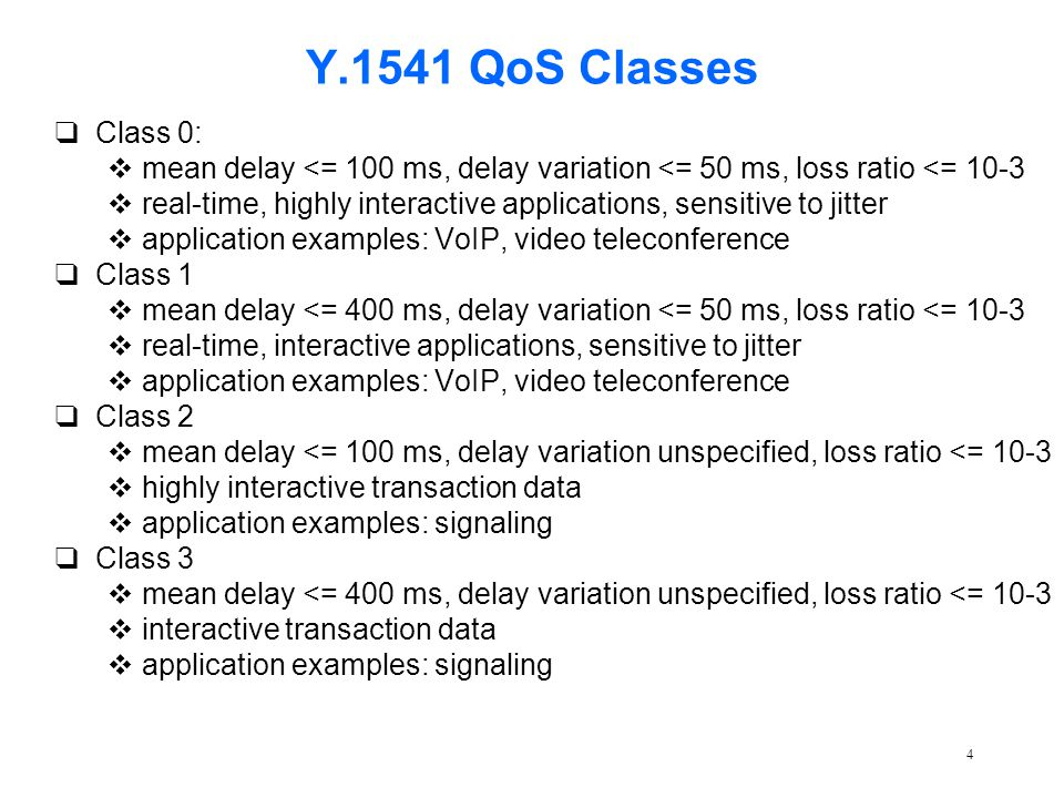 4 Y.1541 QoS Classes qClass 0: vmean delay <= 100 ms, delay variation <= 50 ms, loss ratio <= 10-3 vreal-time, highly interactive applications, sensit