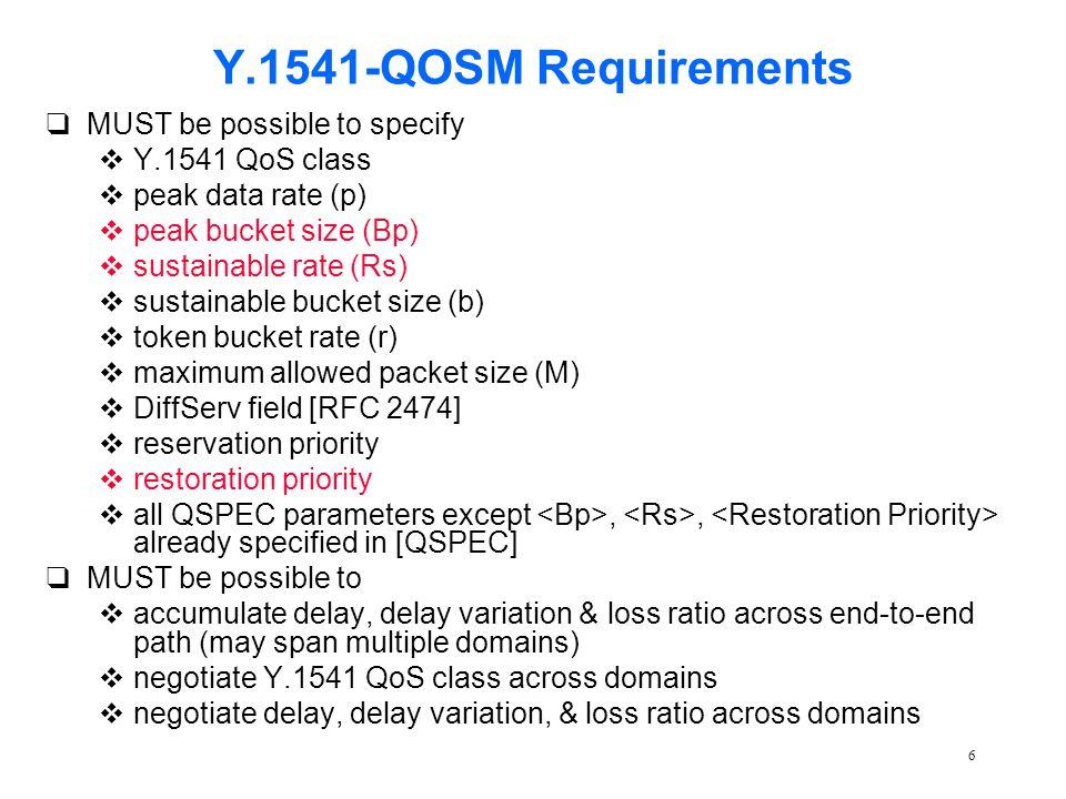 7 Y.1541-QOSM qadditional optional QSPEC parameters v parameters –peak bucket size [Bb] –sustainable rate [Rs] v parameter –high, normal, best effort
