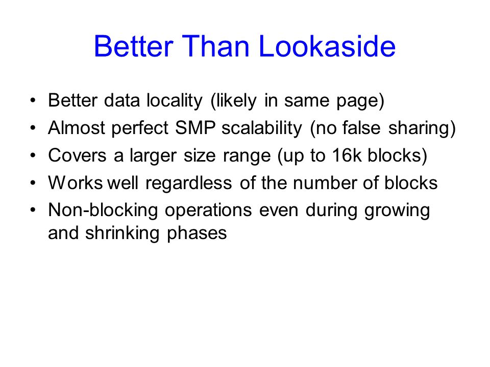 Better Than Lookaside Better data locality (likely in same page) Almost perfect SMP scalability (no false sharing) Covers a larger size range (up to 1