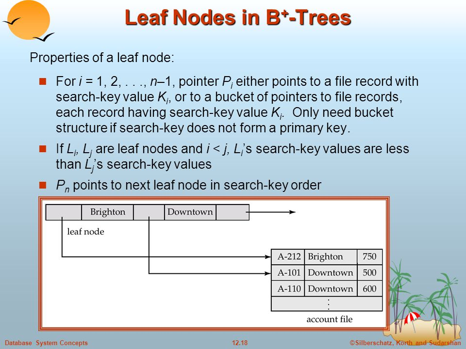 ©Silberschatz, Korth and Sudarshan12.18Database System Concepts Leaf Nodes in B + -Trees For i = 1, 2,..., n–1, pointer P i either points to a file record with search-key value K i, or to a bucket of pointers to file records, each record having search-key value K i.