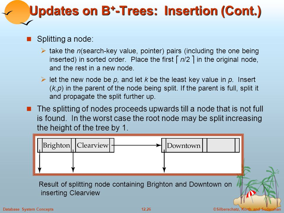 ©Silberschatz, Korth and Sudarshan12.26Database System Concepts Updates on B + -Trees: Insertion (Cont.) Splitting a node:  take the n(search-key value, pointer) pairs (including the one being inserted) in sorted order.