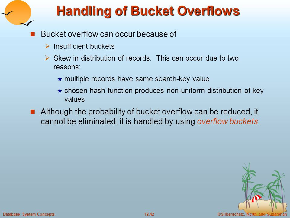 ©Silberschatz, Korth and Sudarshan12.42Database System Concepts Handling of Bucket Overflows Bucket overflow can occur because of  Insufficient buckets  Skew in distribution of records.