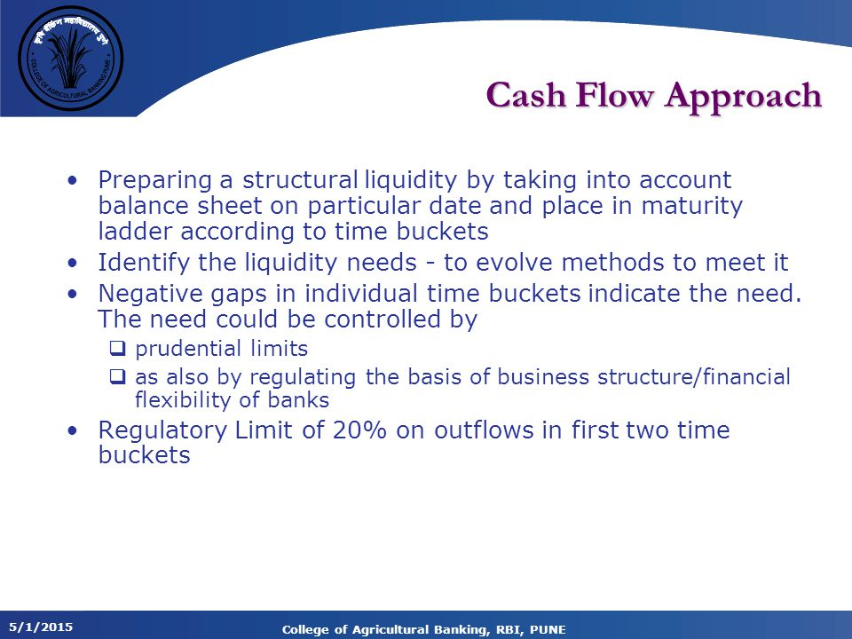 5/1/2015 College of Agricultural Banking, RBI, PUNE Cash Flow Approach Preparing a structural liquidity by taking into account balance sheet on particular date and place in maturity ladder according to time buckets Identify the liquidity needs - to evolve methods to meet it Negative gaps in individual time buckets indicate the need.