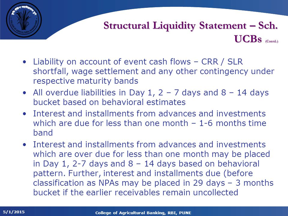 5/1/2015 College of Agricultural Banking, RBI, PUNE Structural Liquidity Statement – Sch.