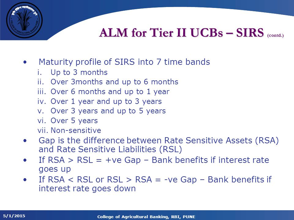 5/1/2015 College of Agricultural Banking, RBI, PUNE ALM for Tier II UCBs – SIRS (contd.) Maturity profile of SIRS into 7 time bands i.Up to 3 months ii.Over 3months and up to 6 months iii.Over 6 months and up to 1 year iv.Over 1 year and up to 3 years v.Over 3 years and up to 5 years vi.Over 5 years vii.Non-sensitive Gap is the difference between Rate Sensitive Assets (RSA) and Rate Sensitive Liabilities (RSL) If RSA > RSL = +ve Gap – Bank benefits if interest rate goes up If RSA RSA = -ve Gap – Bank benefits if interest rate goes down