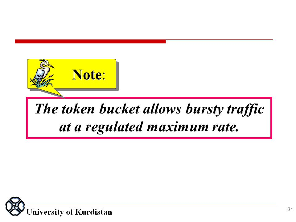 The token bucket allows bursty traffic at a regulated maximum rate. Note: 31