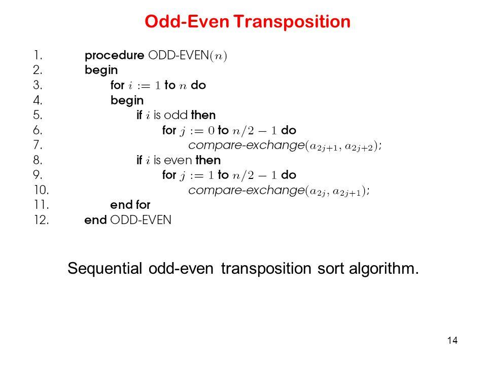 14 Odd-Even Transposition Sequential odd-even transposition sort algorithm.