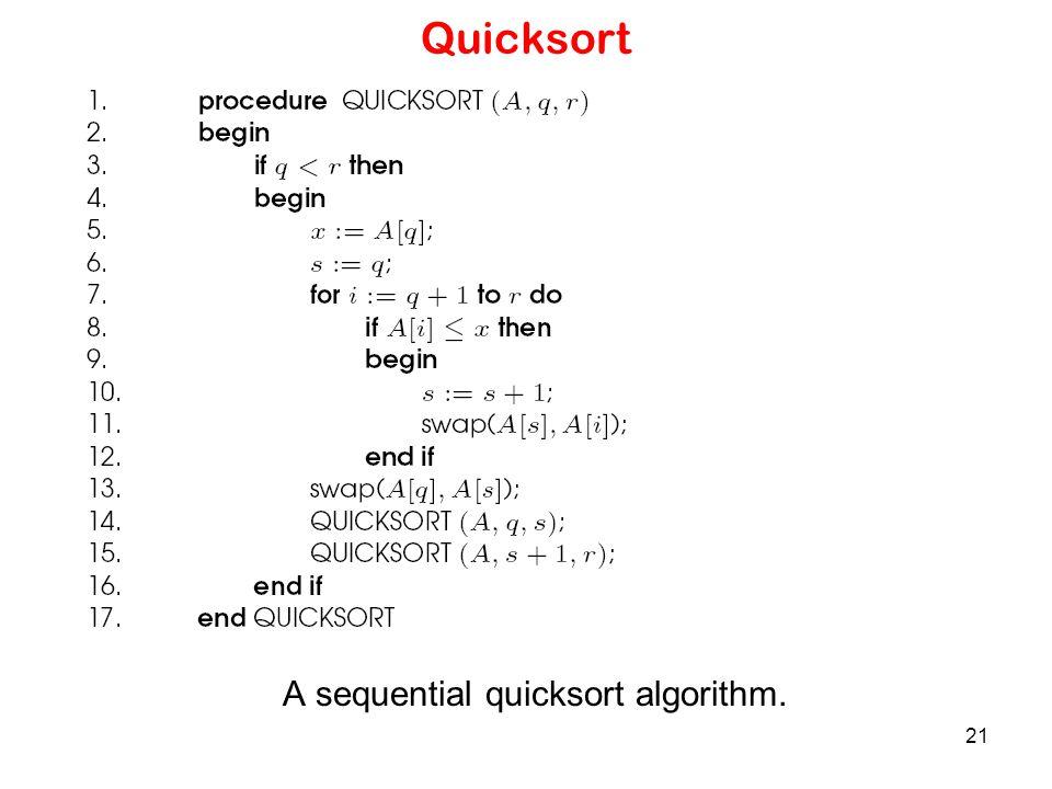 21 Quicksort A sequential quicksort algorithm.