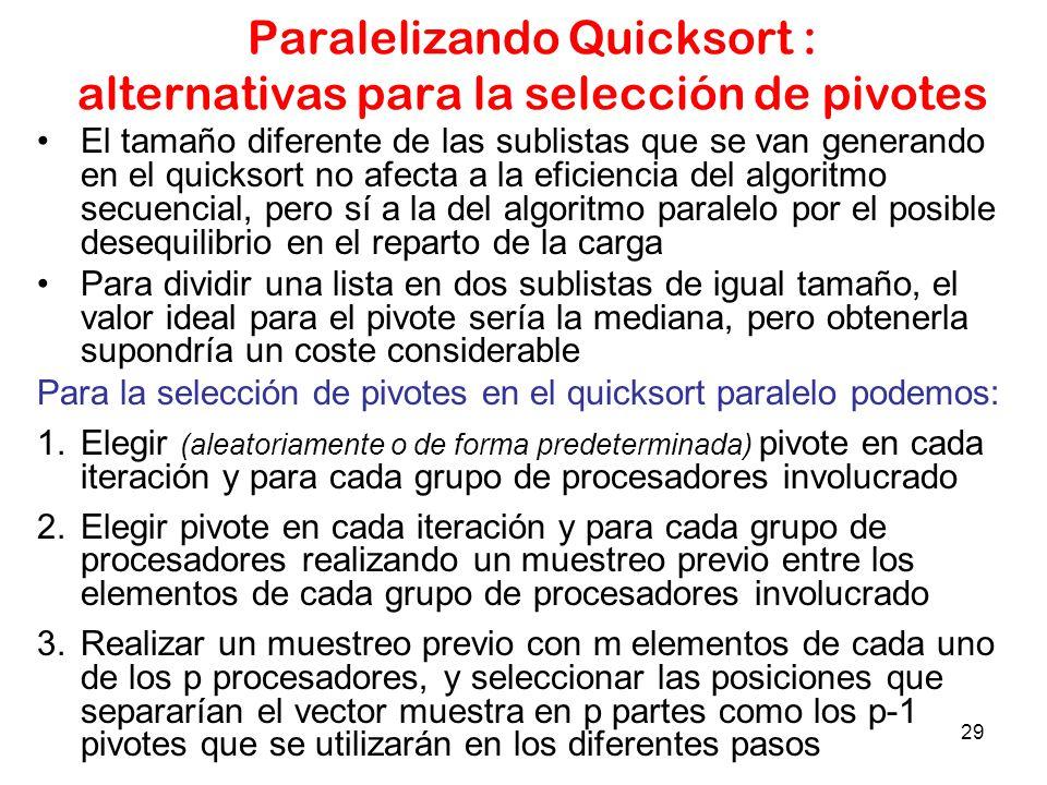 29 Paralelizando Quicksort : alternativas para la selección de pivotes El tamaño diferente de las sublistas que se van generando en el quicksort no af