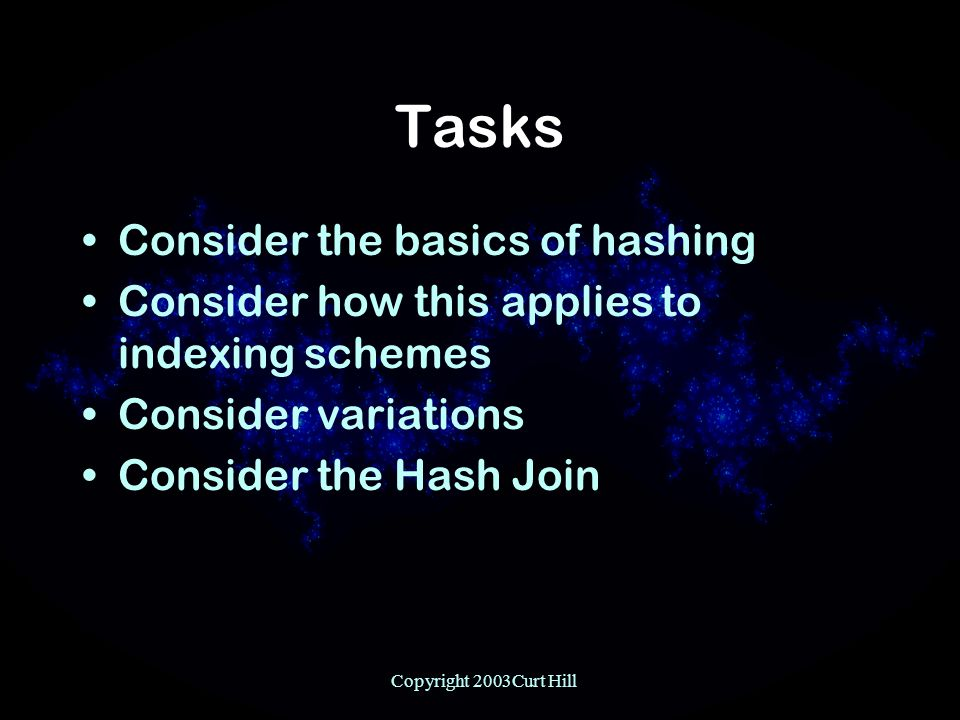 Copyright 2003Curt Hill Tasks Consider the basics of hashing Consider how this applies to indexing schemes Consider variations Consider the Hash Join