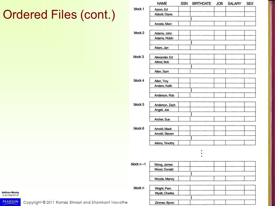 Copyright © 2011 Ramez Elmasri and Shamkant Navathe Ordered Files (cont.)