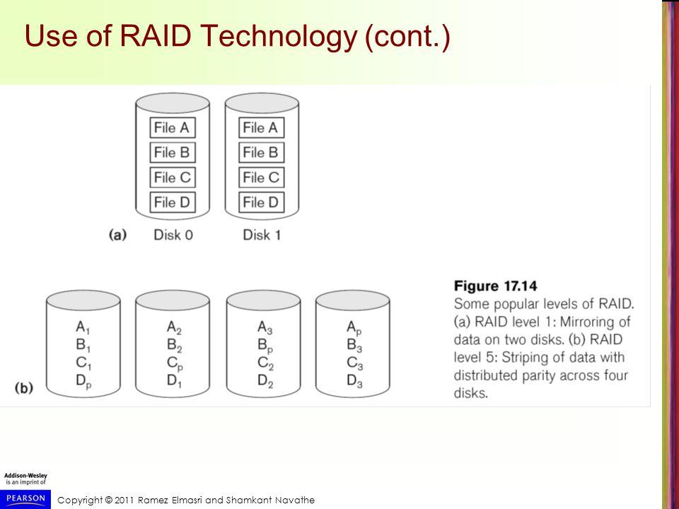 Copyright © 2011 Ramez Elmasri and Shamkant Navathe Use of RAID Technology (cont.)