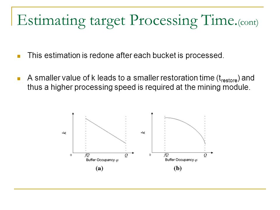 Estimating target Processing Time. (cont) This estimation is redone after each bucket is processed.