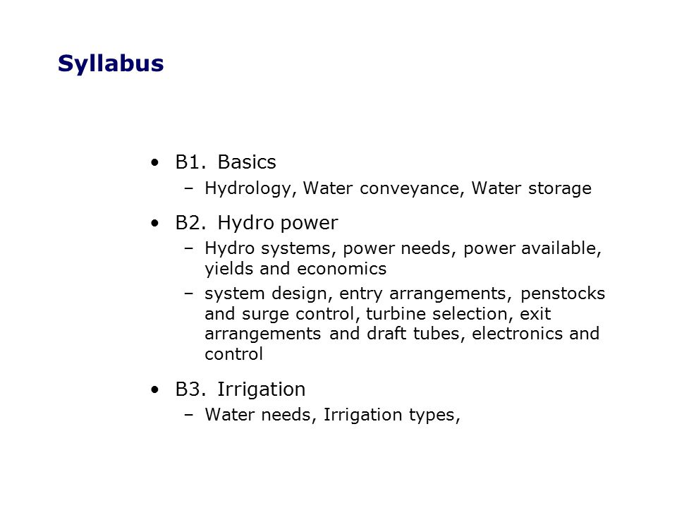 B1.1.2Hydrology Runoff:Components Transpiration –Water used by plants and returned to the atmosphere Evaporation –Water evaporated directly from surface puddles Soil water –Water retained by the soil Overland flow –water running on the surface Interflow –Water flowing underground but feeding the water course Groundwater accreditation –Water lost to groundwater