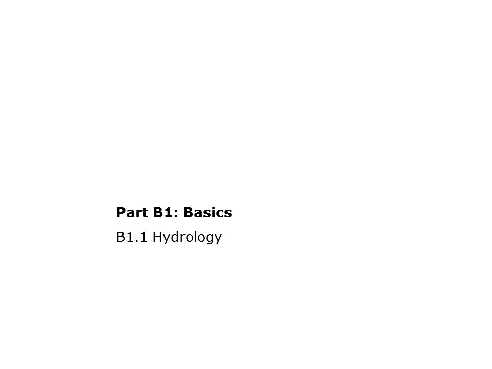 B1.1.4Hydrology Flow estimation: Weirs