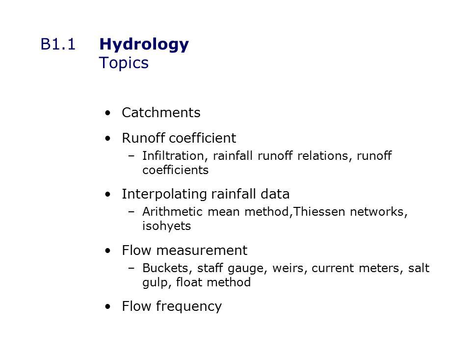 B1.1.1Hydrology Catchments