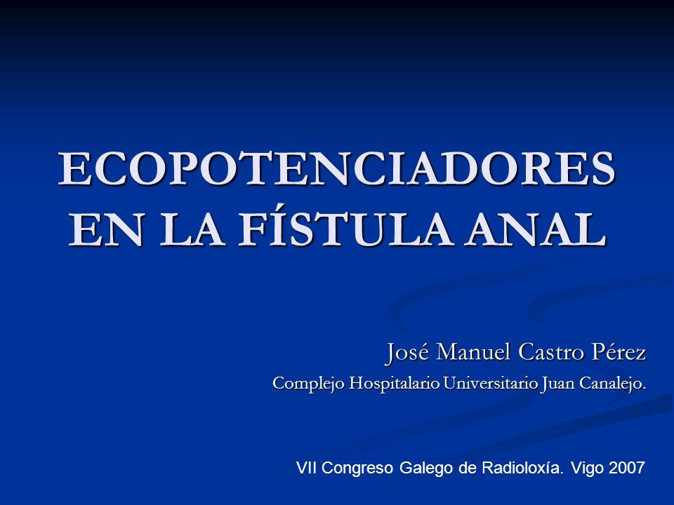ECOPOTENCIADORES EN LA FÍSTULA ANAL José Manuel Castro Pérez José Manuel Castro Pérez Complejo Hospitalario Universitario Juan Canalejo. VII Congreso