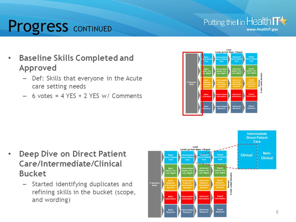 8 Baseline Skills Completed and Approved – Def: Skills that everyone in the Acute care setting needs – 6 votes = 4 YES + 2 YES w/ Comments Deep Dive on Direct Patient Care/Intermediate/Clinical Bucket – Started identifying duplicates and refining skills in the bucket (scope, and wording) Progress CONTINUED 8