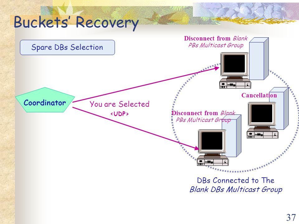 37 Coordinator Spare DBs Selection DBs Connected to The Blank DBs Multicast Group Disconnect from Blank PBs Multicast Group You are Selected Disconnect from Blank PBs Multicast Group Cancellation Buckets' Recovery