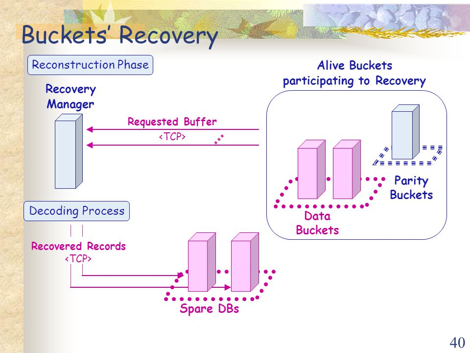 40 Decoding Process Recovered Records Data Buckets Parity Buckets Recovery Manager Spare DBs Alive Buckets participating to Recovery Requested Buffer … Buckets' Recovery Reconstruction Phase