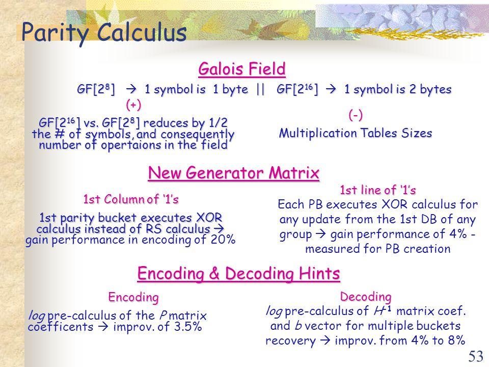 53 Parity Calculus Galois Field GF[2 8 ]  1 symbol is 1 byte || GF[2 16 ]  1 symbol is 2 bytes GF[2 8 ]  1 symbol is 1 byte || GF[2 16 ]  1 symbol is 2 bytes (+) GF[2 16 ] vs.