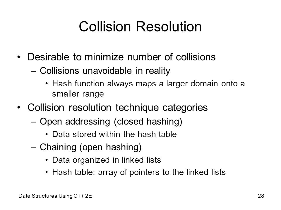 Data Structures Using C++ 2E28 Collision Resolution Desirable to minimize number of collisions –Collisions unavoidable in reality Hash function always